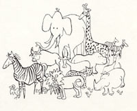 drawing of group of animals