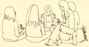 drawing of people cleaning herb