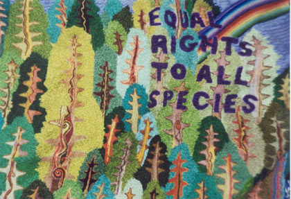 embroidery says equa lrights to all species