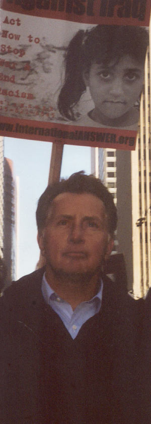 martin Sheen at anti war rally