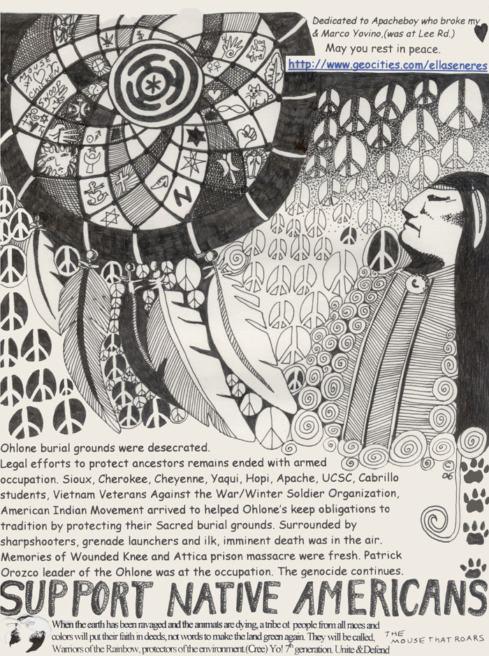 Ohlone Indians Sacred Burial grounds ink drawing