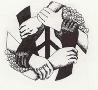 ink drawing of hands in circle for gang peace