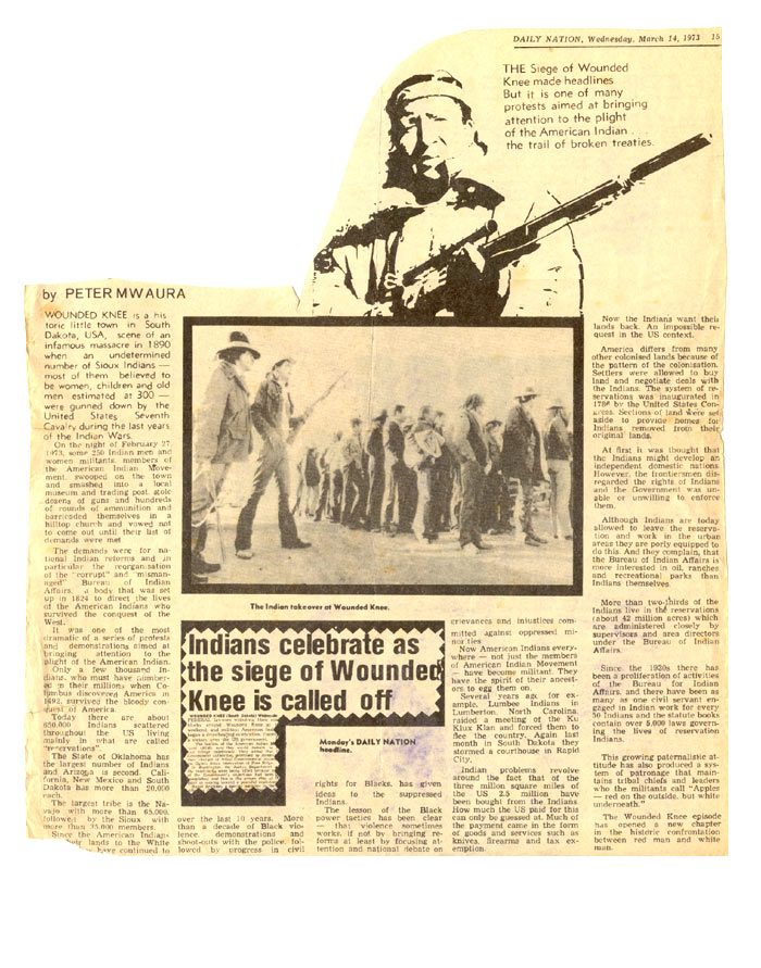 wounded Knee Kenya's Front page